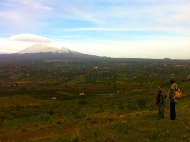 The farm overlooks the beautiful and still-active volcano, Mount Etna, which has destroyed nearby villages such as Catania multiple times throughout history.