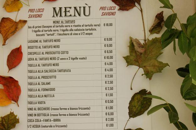 White Truffle Sagra Savigno - menu