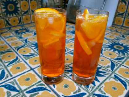Spritz - Luke's favorite cocktail - 2 parts Aperol, 3 parts prosecco, a splash of sparkling water, and a slice of orange