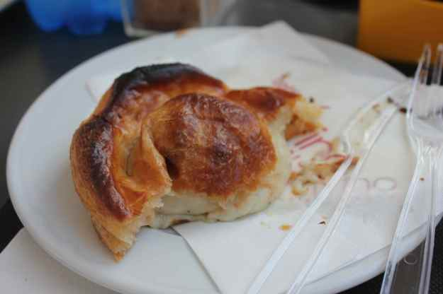 Alvino's rustico, puff pastry filled with besciamel, mozzarella, tomato and black pepper.